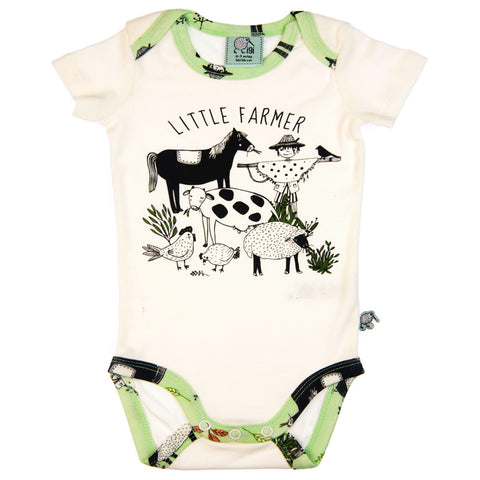 Little Farmer Short sleeve envelope bodysuit by igi - Special Little Shop - 1