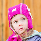Winter Merino Wool Girl's Hat by Pickapooh, with flower and ties (Nele)
