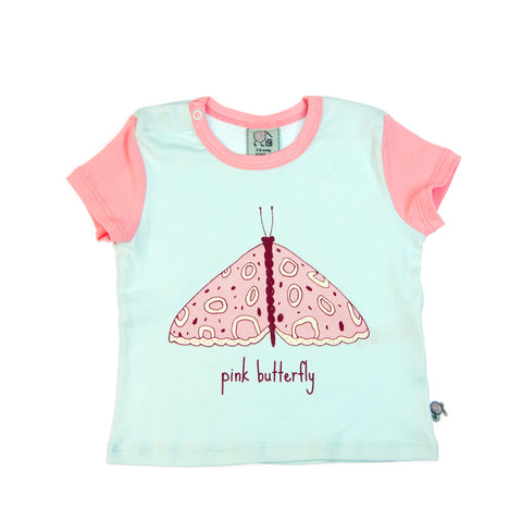 Pink Butterfly short sleeve baby toddler tee by igi - Special Little Shop - 1