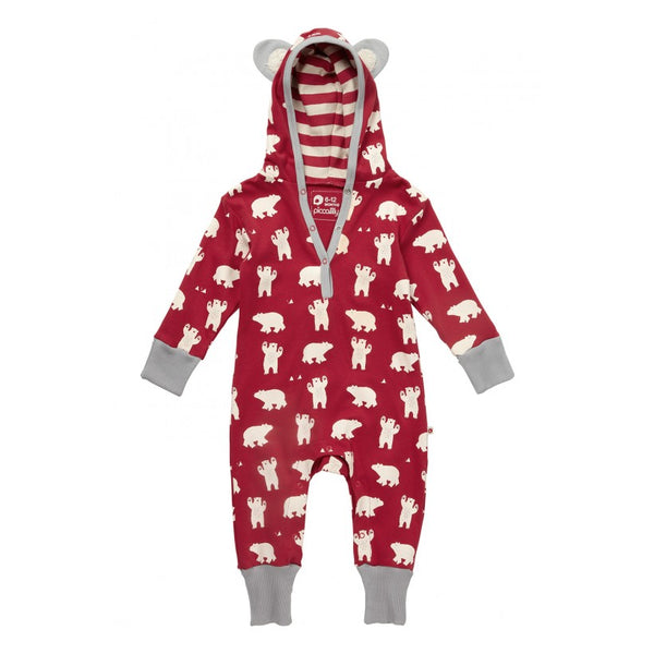 ed57de6827d Piccalilly Christmas Hooded Baby Toddler Playsuit - Polar Bear (Red ...