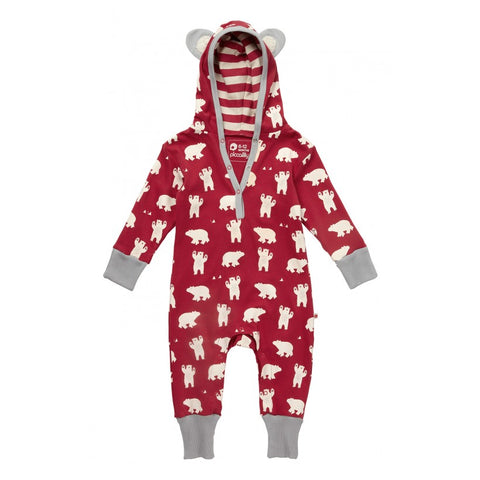 Piccalilly Christmas Hooded Baby/Toddler Playsuit - Polar Bear.
