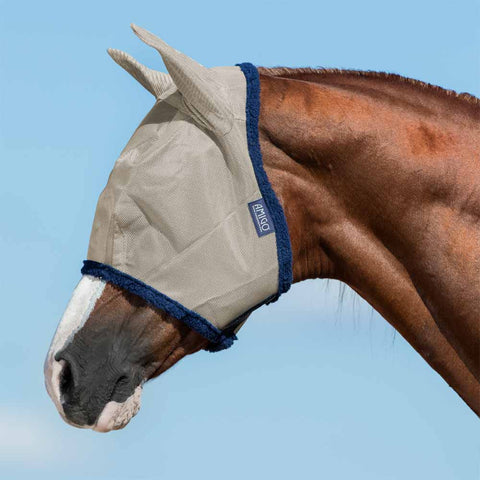 Amigo Fly Mask in Oatmeal/Navy