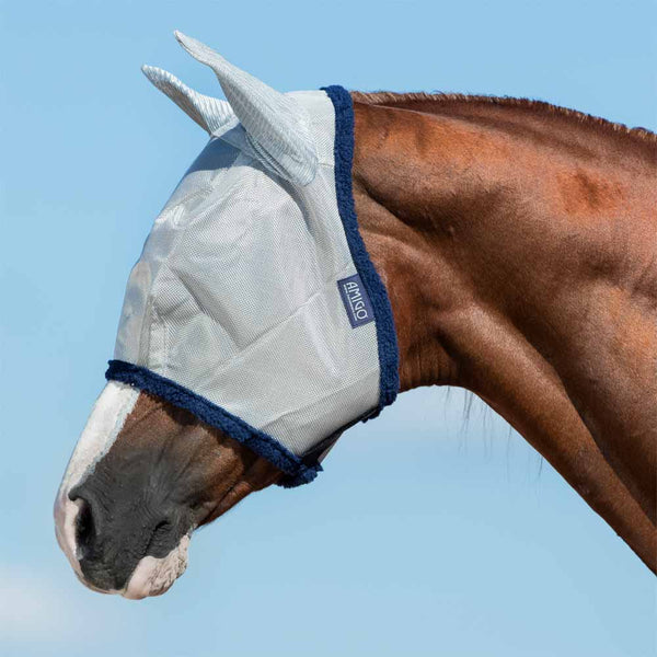Amigo Fly Mask in Silver with Navy