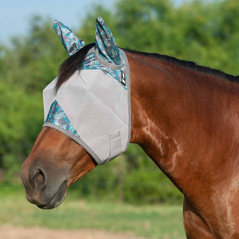 Cashel Crusader Teal Tribal Fly Mask with Ears