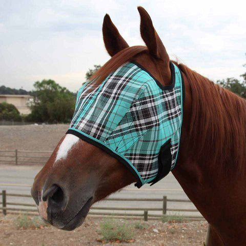 Kensington Fly Mask with Web Trim in Black Ice Plaid
