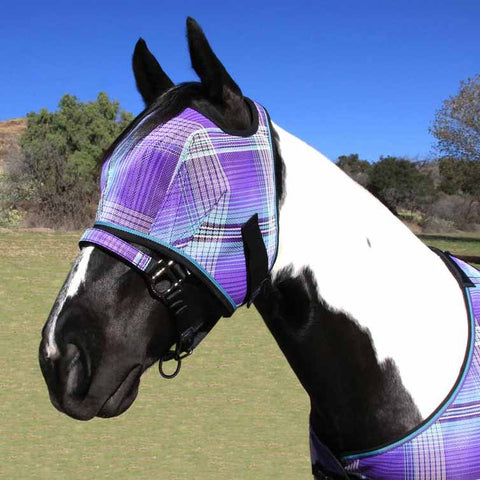 Kensington Fly Mask with Web Trim in Lavender Mint Plaid