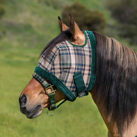 Kensington Fly Mask with Fleece Trim in Deluxe Hunter Plaid