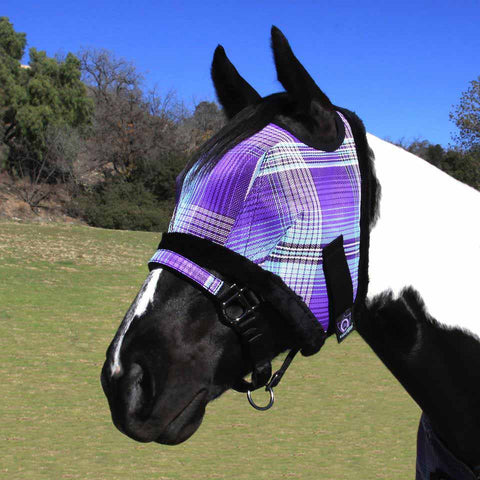Kensington Fly Mask with Fleece Trim in Lavender Mint Plaid