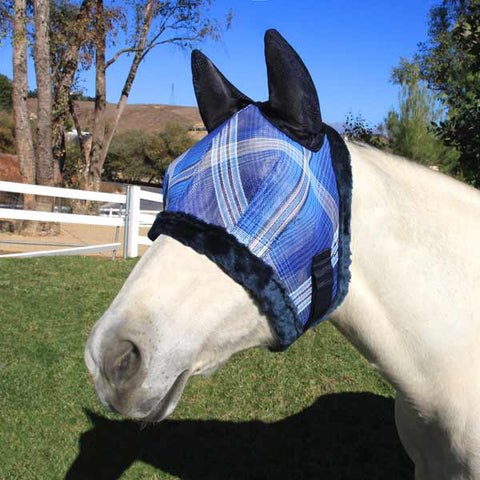 Kensington Fly Mask with Fleece Trim with Ears in Dark Blue Plaid