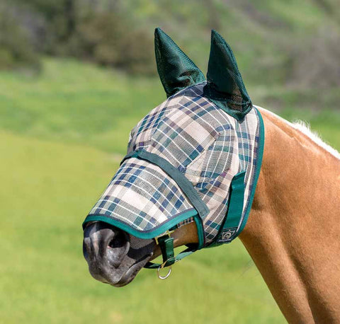 Kensington Fly Mask with Soft Mesh Ears and Removable Nose in Deluxe Hunter Plaid