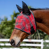Kensington Fly Mask with Web Trim with Ears in Deluxe Red Plaid