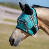 Kensington Fly Mask with Web Trim with Ears in Black Ice Plaid