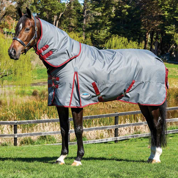 WeatherBeeta ComFiTec Plus Dynamic Detach-a-Neck Medium Turnout Blanket Grey Burgundy