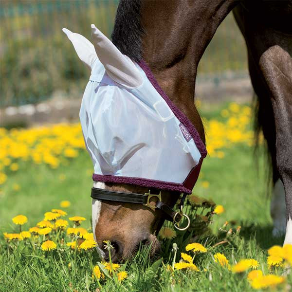 Amigo Fine Mesh Fly Mask with Ears in silver with purple
