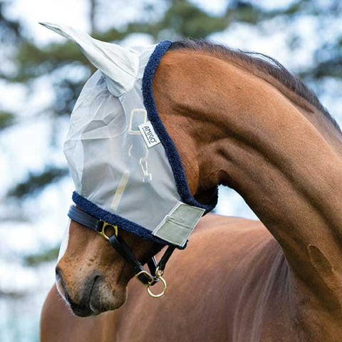 Amigo Fine Mesh Fly Mask with Ears in Silver with Navy