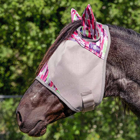 Cashel Pink Watercolor Patterned Crusader Fly Mask with Ears