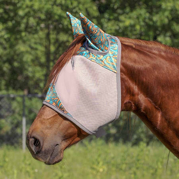 Cashel Turquoise Waves Patterned Crusader Fly Mask with Ears