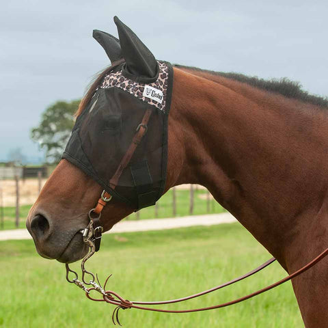 Cashel Quiet Ride Leopard Fly Mask with Ears