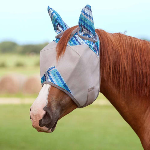 Cashel Blue Zig Zag Crusader Fly Mask with Ears