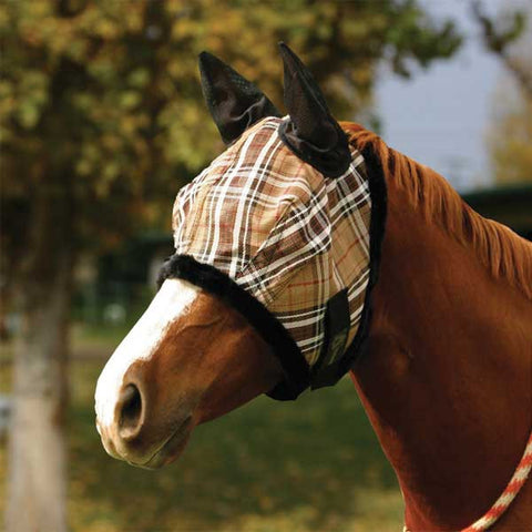 Kensington Pony Fly Mask - Deluxe Black Plaid