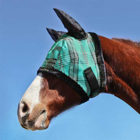 Kensington Fly Mask with Fleece Trim with Ears - Black Ice Plaid