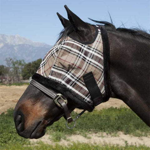 Kensington Fly Mask with Fleece Trim - Deluxe Black Plaid