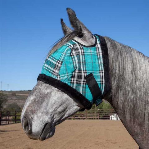Kensington Fly Mask with Fleece Trim - Black Ice Plaid