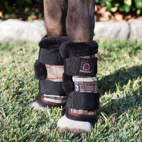 Kensington Protective Miniature Horse Fly Boots - Deluxe Black Plaid