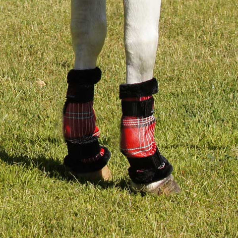 Kensington Protective Pony Fly Boots - Deluxe Red Plaid