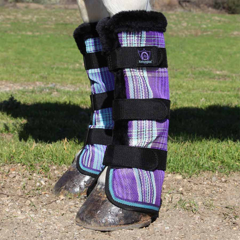 Kensington Protective Draft Fly Boots in Lavender Mint Plaid
