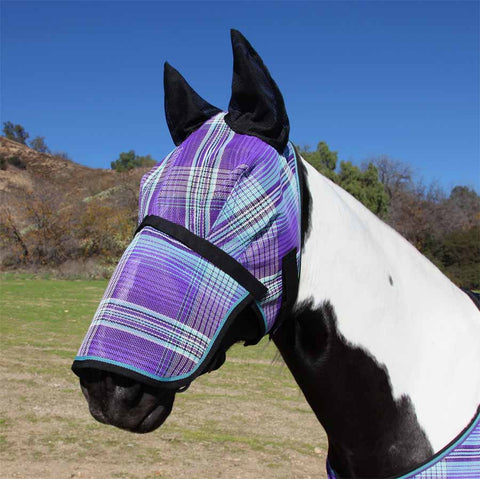 Kensington Long Fly Mask with Ears in Lavender Mint