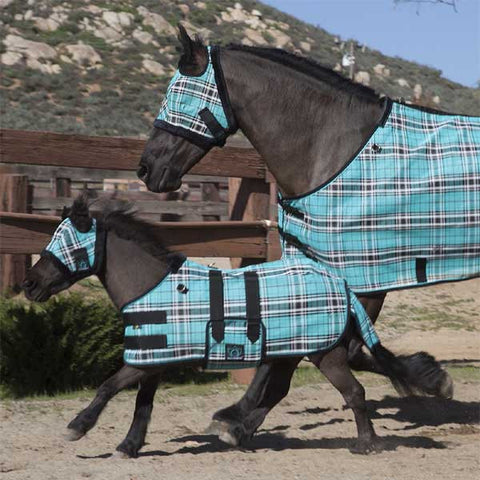 Kensington Mini Fly Mask with Fleece Trim - Black Ice Plaid