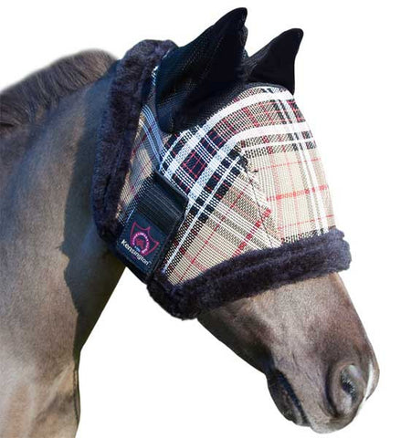 Kensington Mini Fly Mask with Fleece and Ears Deluxe Black Plaid