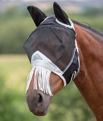 Shires Fine Mesh Mask with Ears and Fringe