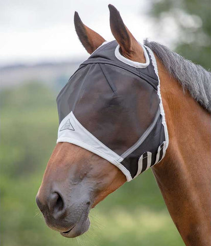 Shires Fine Mesh Fly Mask with Ear Holes in Black