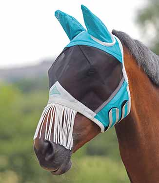 Shires Fine Mesh Mask with Ears and Nose Fringe