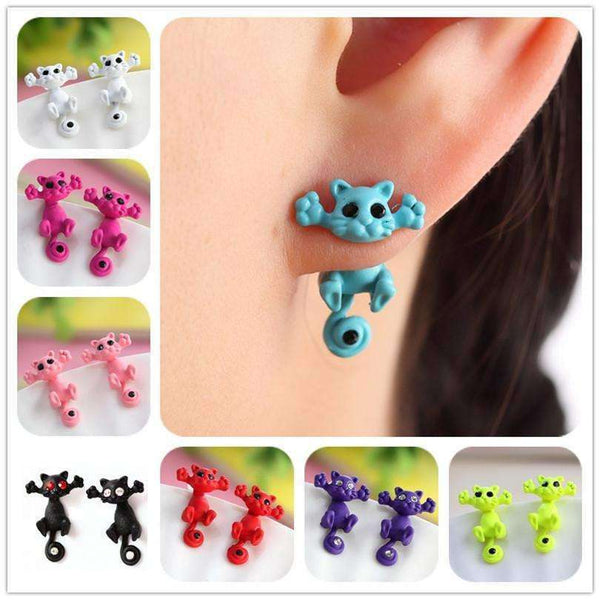 2015 New Hot Color Fashion 3D Black eye Cute Cat Ear Fine Jewelry Stud Earrings For Women  E0007-B - Meow Merch - 1