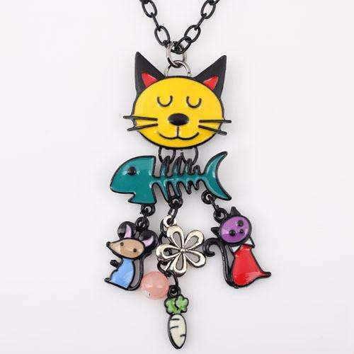 Colorful  French Cat Necklace - Meow Merch - 1