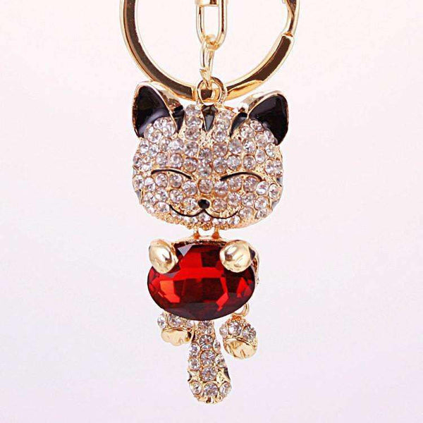 Crystal Rhinestone Metal Cat Keychain - Meow Merch - 1