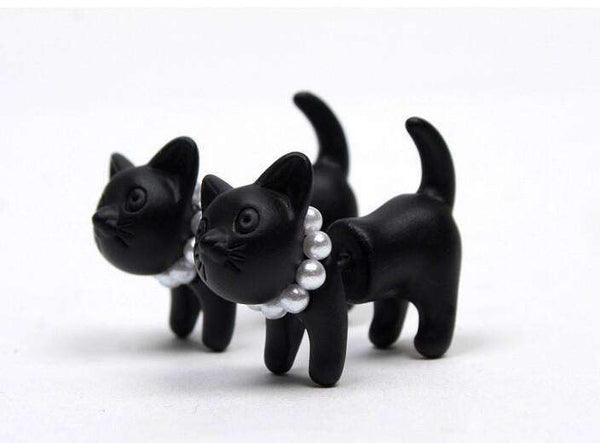 Cute Black Cat Pearl Stud Earrings - Meow Merch