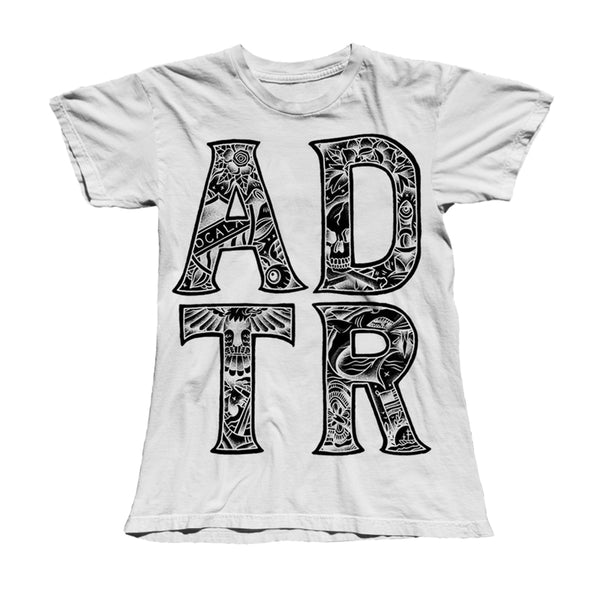 TATTOO LETTERS LADIES WHITE T-SHIRT