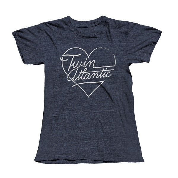 NAVY HEART SCRIPT LADIES TEE