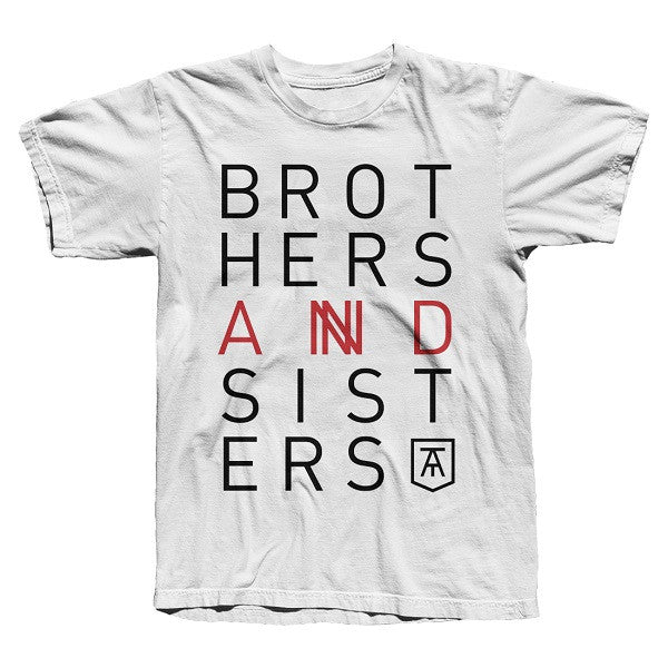 WHITE 'BROTHERS & SISTERS' TEE