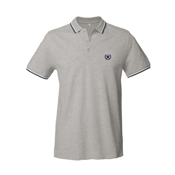 Mad Summer Polo - Grey With Navy & White Trim