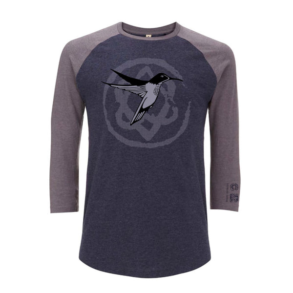 Hummingbird Heart Navy Grey Salvage Baseball
