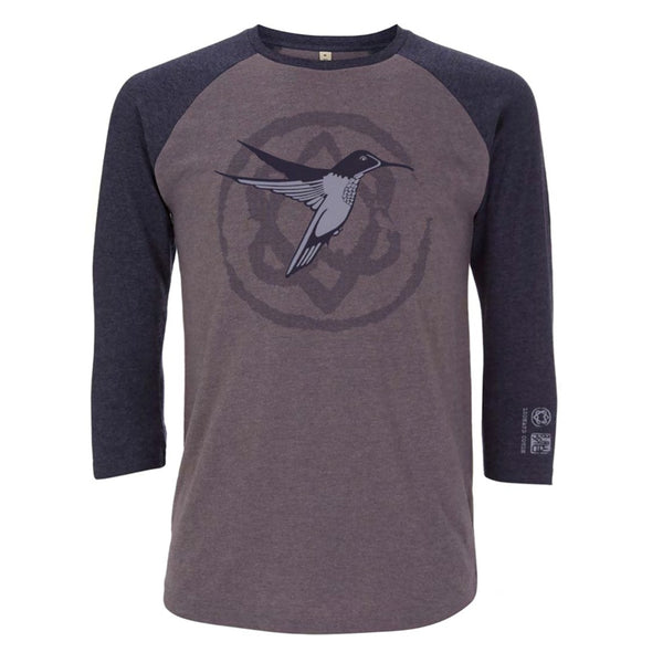 Hummingbird Heart Grey Navy Salvage Baseball