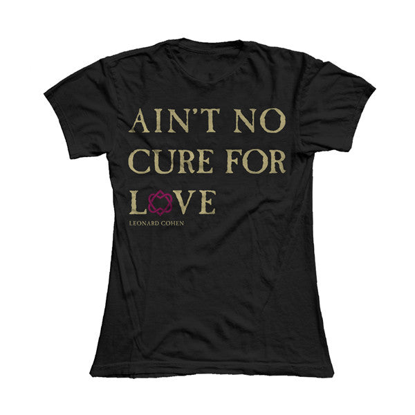 Black No Cure For Love Text Ladies Tee