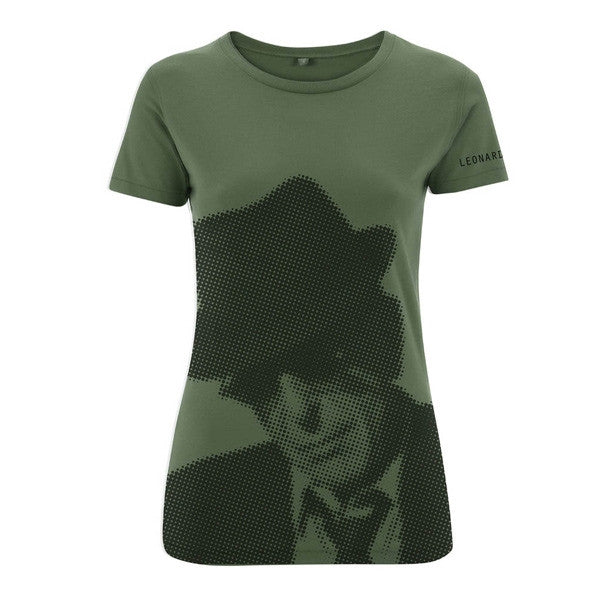 Military Green Halftone Ladies Slim Fit Tee