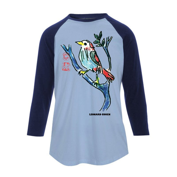 LONGING Ladies Baseball Tee Sky Blue & Navy