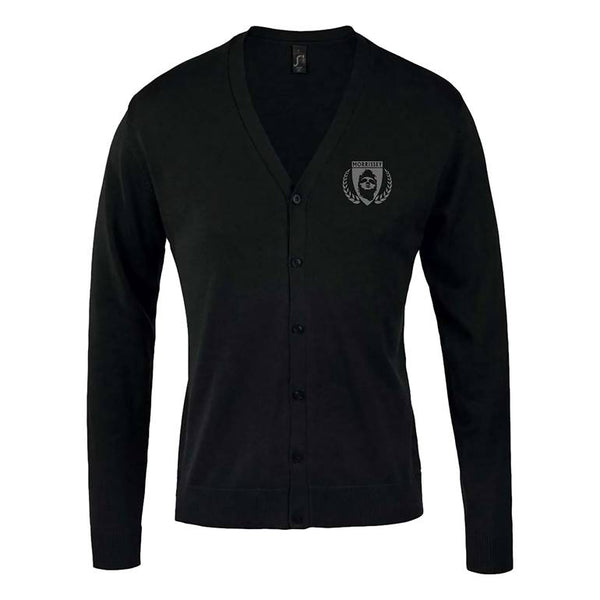 BLACK EMBROIDERED SHIELD CARDIGAN